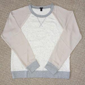 NWOT J Crew Chiffon Sleeve Sweatshirt